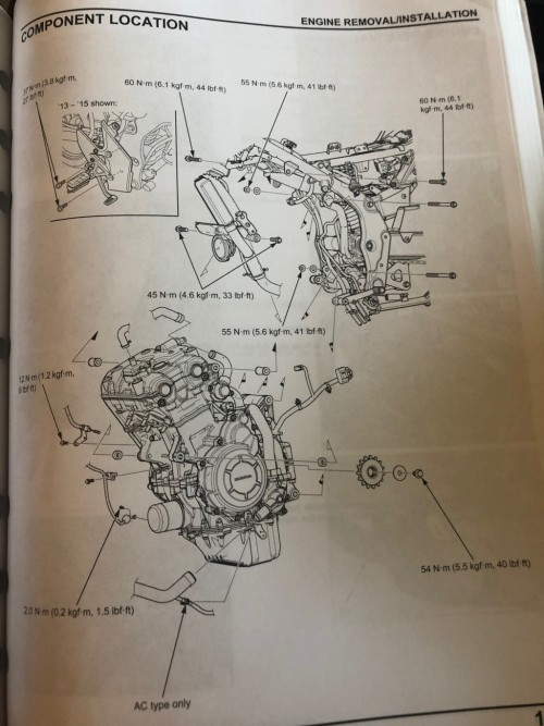Depicts engine mounting bolt locations and torques.